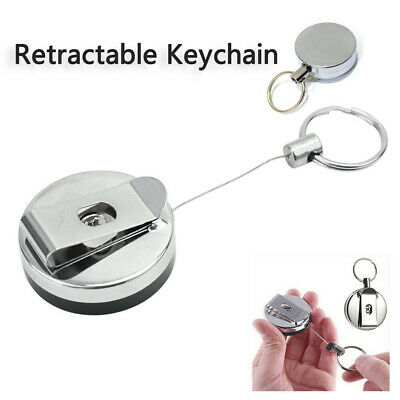 Retractable Key Chain Reel Steel Cord Recoil Belt Ring Badge Holder OutdoorFN s//