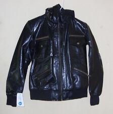 Women leather Black Biker Slim Fit  Hooded Motorcycle Leather Jacket Size XL