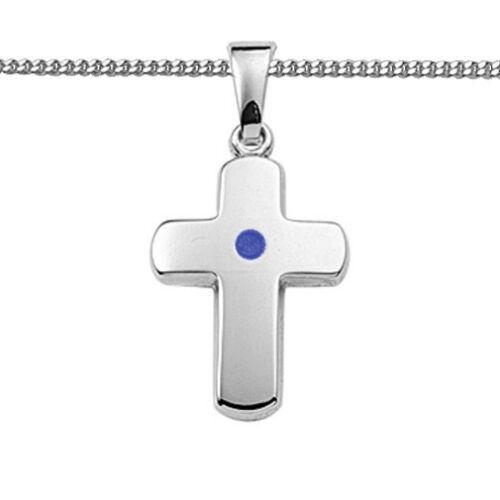 Kreuz Anhänger blau Junge Taufe Erst Kommunion Konfirmation Kette Silber 925 Neu