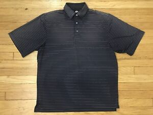 Footjoy-Gray-Striped-Golf-Polo-Shirt-Mens-Size-Large