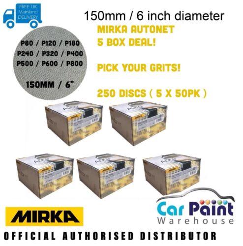 250 Discs! Mirka Autonet  5 BOXES DEAL P80-P800 Grit Abranet Alternative