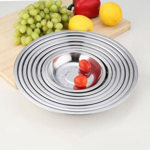 18-26CM Durable Tableware Round Tray Dinner Plate Food Container Stainless Steel