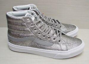 5c40ff86a2da8c Vans SK8 Hi Slim (Foil Metallic) Silver True White VN-00018IHTI ...