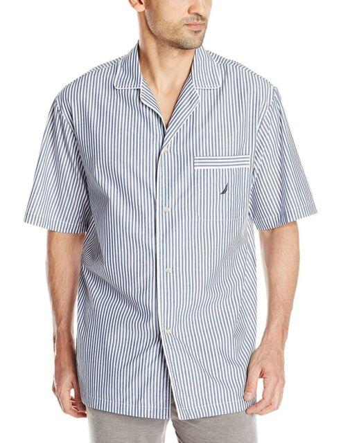 c849bd15a2 New Nautica Sleepwear Short Sleeve Bright White Stripe Sleep Pajama Camp  Shirt