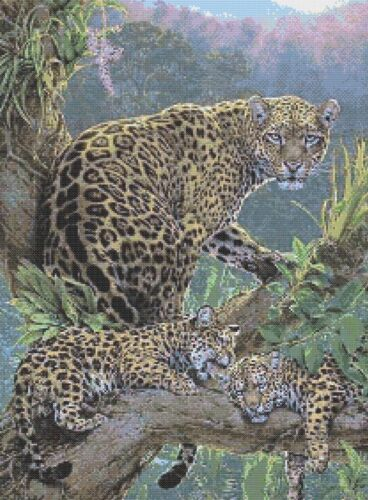 CROSS STITCH CHART LEOPARD AND CUBS