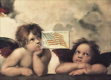 REPRINT PICTURE of old print 2 CHERUB ANGELS C waiting 7x5