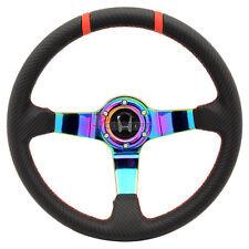 350mm JDM Racing Steering Wheel Black Carbon Fiber Look Neo Spokes Siver H