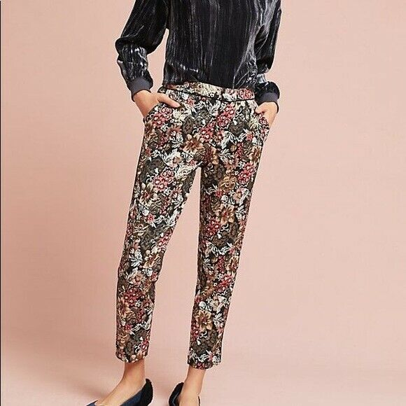 ANTHROPOLOGIE FLORAL LUELLE METALLIC JACQUARD PRINT TROUSERS 12  188
