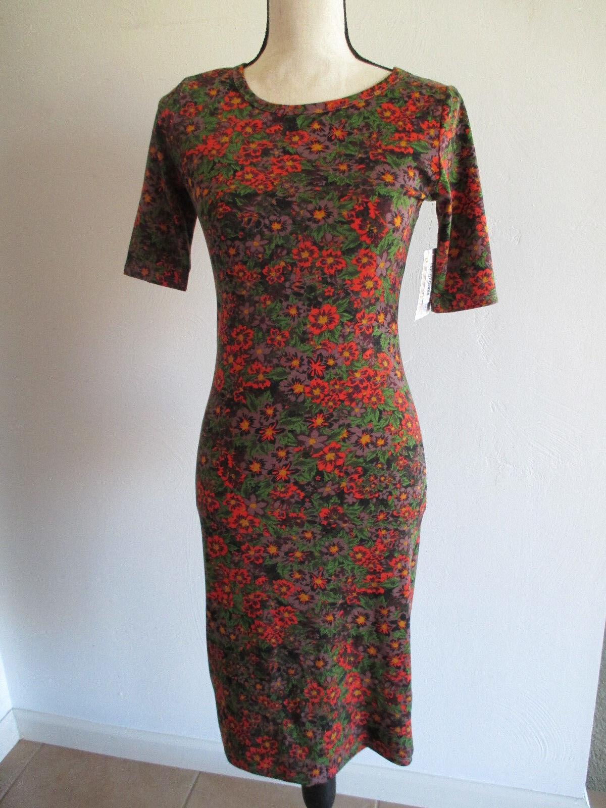 NWT Women s Julia Dress Autumn Fall Dress Sz XS orange Green Floral Lularoe  nrbubu931-Dresses 4c738bfa4
