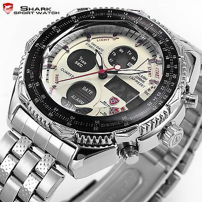 SHARK Mens Military White LCD Digital Analog Date Stopwatch Sport Quartz Watch