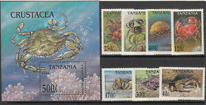 Stamps-1994-Tanzania-crustaceans-set-of-7-plus-mini-sheet-MUH-nice-thematics
