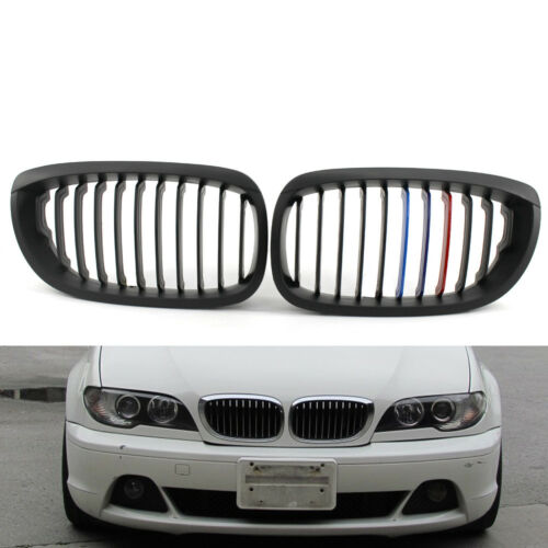2x Matte Black Mix Color Front Hood Grille Fit For BMW E46 LCI Facelift Coupe