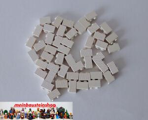 50X-Lego-2877-Basic-Modifiz-Rillen-Riffelsteine-Grille-1X2-Weiss-White-NEU