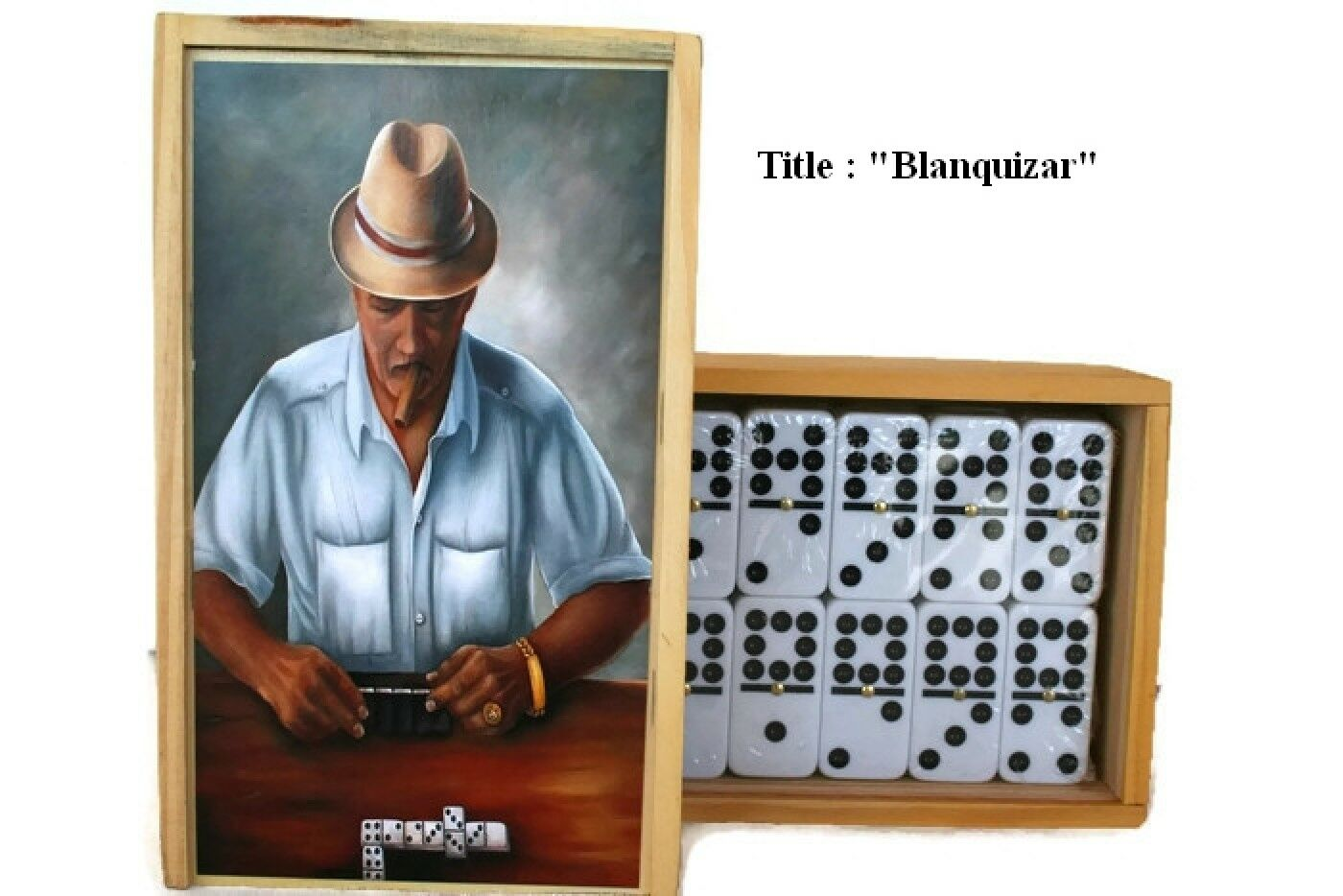 Gift ideas  Oil Painting  Blanquizar  on Top Professional Domino double Nine
