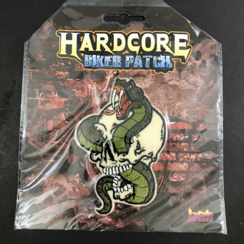 """Snake in Skull Biker Patch~4 1//4/"""" x 2 7//8/""""~Embroidered~Iron or Sew~FREE Shipping"""
