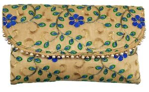 Indian-Purse-Ladies-Vintage-Traditional-Embroidery-Clutch-Bag-CL055-Blue