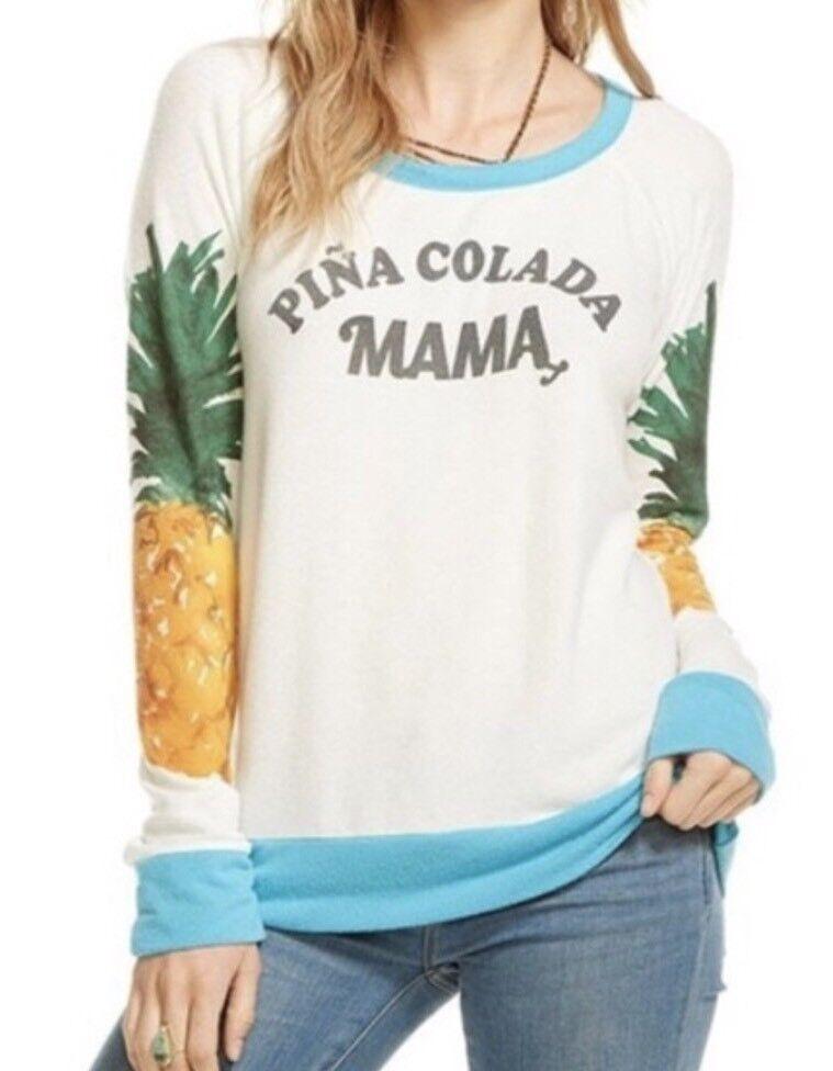 Chaser Pina Colada Mama Pineapple Graphic Sweatshirt Tropical Fleece Sz XS New