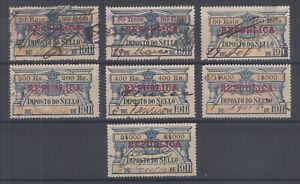 Portugal-Gerais-Barata-684-701-used-1911-red-REPUBLICA-Fiscals-7-different