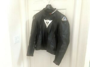 Dainese-Classic-Perforated-Black-Leather-Jacket-Size-46-56