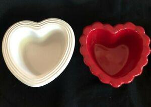 Valentines 2 Chantal Red Heart Bowl Dish Bake Freeze Serve Stoneware 1/2 Cup