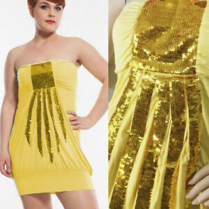 2dc06c4c1a35 Image is loading Women-039-s-Yellow-Strapless-Bandeau-Sequin-Bodycon-