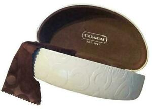 NEW-Authentic-Coach-Ivory-White-Signature-Hard-Clamshell-Eyeglass-Sunglass-Case