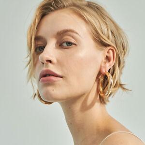 Image Is Loading 50mm Alloy Punk Hoop Earrings Fashion Jewelry Statement