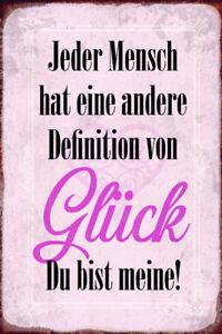 Definition Von Glück Tin Sign Shield Arched Metal 20 X 30 CM