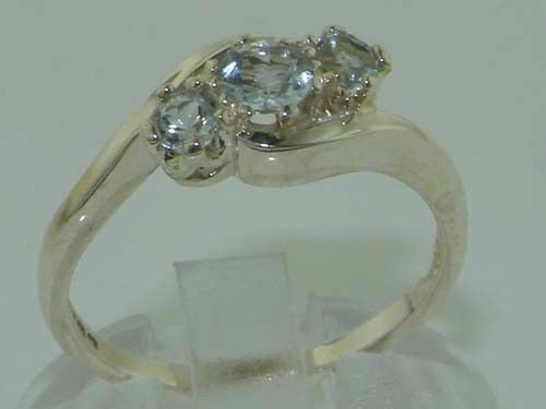 18ct 750 White gold Natural Aquamarine Womens Trilogy Ring - Sizes J to Z