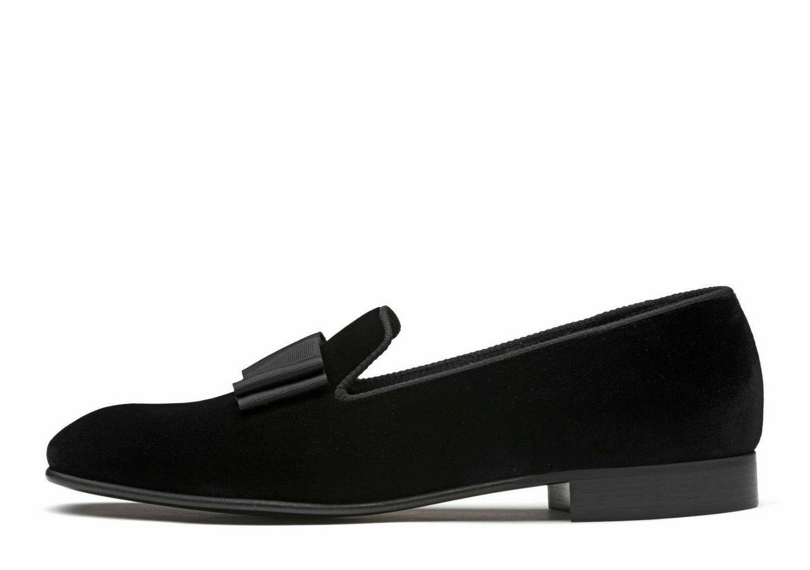 Zapatos para hombre hecho a mano Negro Terciopelo Mocasines & Slip On bodas con moño formal vestido de arranque