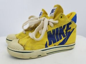 Rare-80-039-s-Sneaker-Canvas-Yellow-Nike-High-Top-Size-11-5-Youth