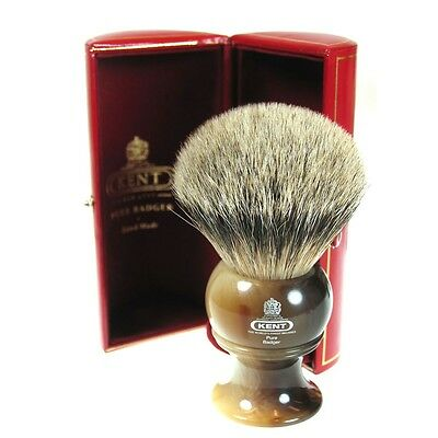Kent H12 Shaving Brush Pure Badger Bristle Horn Handle LARGE Size - GIFT BOXED