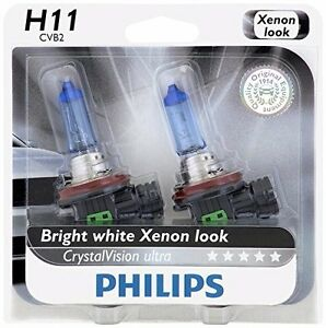 2x-Philips-H11-Upgrade-Ultra-CrystalVision-Xenon-Bright-White-12362-Light-Bulb