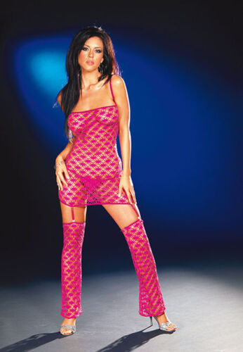 SALE PINK NET FISHNET MINI DRESS GARTERS LEGWARMERS GLAMOUR CLUBWEAR S M L