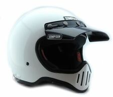 SIMPSON M50 MOTORCYCLE HELMET DOT APPROVED GLOSS WHITE XL EXTRA LARGE 62cm 73/4