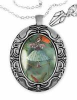 Haunted Mansion Zombie Ballerina Ghost Silver Horror Halloween Pendant Necklace