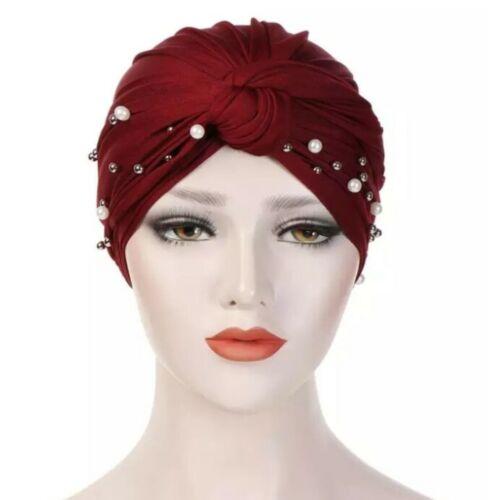 Le donne elastica Turbante cappello musulmano Hijab Perle cancro cappuccio velo rosso.