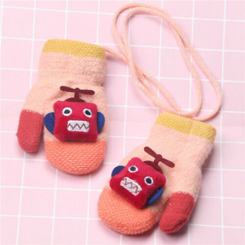 Baby Kids Cute Robot Warm Winter Gloves Full Fingers Knitted Wool Warmer Mittens