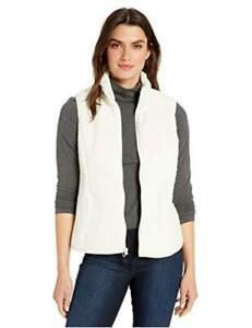 Essentials-Women-039-s-Polar-Fleece-Lined-Sherpa-Vest-Off-white-Size-Medium
