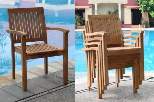 DSLV Grade-A Teak Wood Dining Solo Stacking Arm Chair Outdoor Garden Furniture