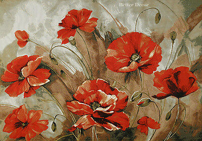 WALL JACQUARD WOVEN TAPESTRY Poppy Floral Impressions EUROPEAN DECOR PICTURE