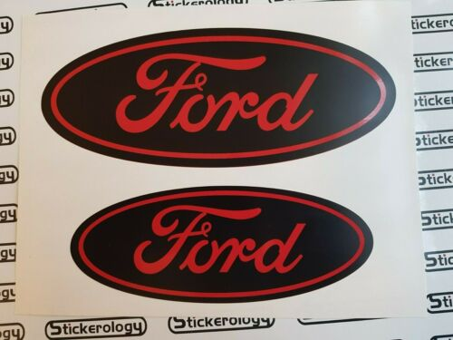 2 X FORD ST STICKERS FORD FOCUS 2012 MODEL FRONT /& REAR RED /& BLACK BACKGROUND