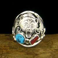 Sterling Silver Mens Bear Head Ring With Turquoise & Coral - Select Size --- R87