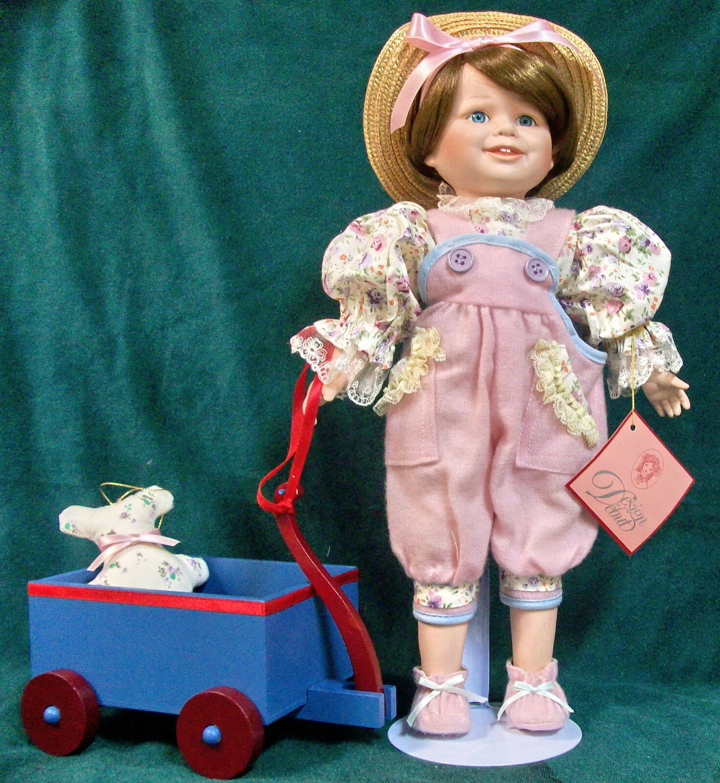 AMY  Pulling Her Wagon w  Her Teddy Bear DESIGN DEBUT Doll - NIB