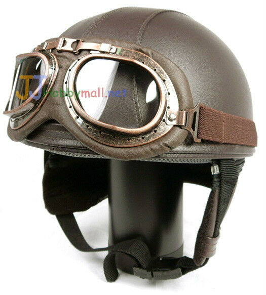 Motorcycle Half Face Scooter Leather Motorbike Vintage Goggle Helmets Brown