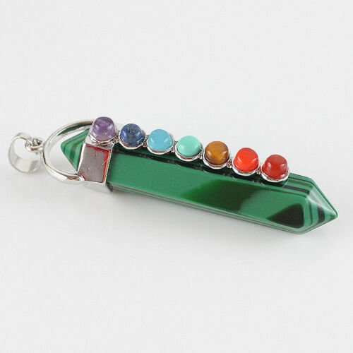 Natural Gem Hexagonal Pointed Yoga Beads Reiki Chakra Wand Pendant fit Necklace