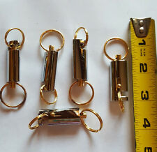 (Lot of 5) Keychains Quick Release Removable Key Rings Gold & Silver Long Oval