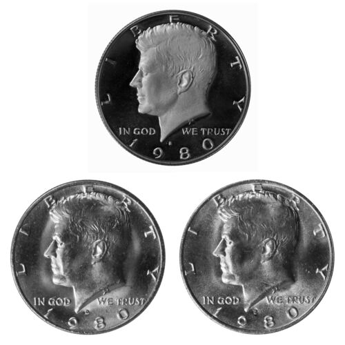 1980 P D S Kennedy Half Dollar 50c Year set Proof /& BU US 3 Coin lot