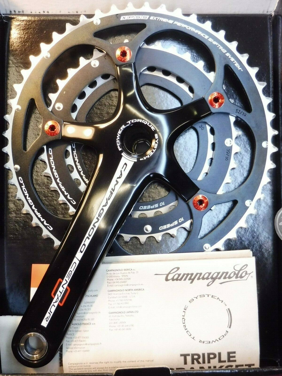 Campagnolo Centaur (B&R) Triple 10-speed Ketenset 175mm --30.39.50.fiets NOS