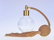PERFUME ATOMIZER 78ml ROUND GLASS BOTTLE, GOLD TASSEL, GOLD FITTING & FUNNEL